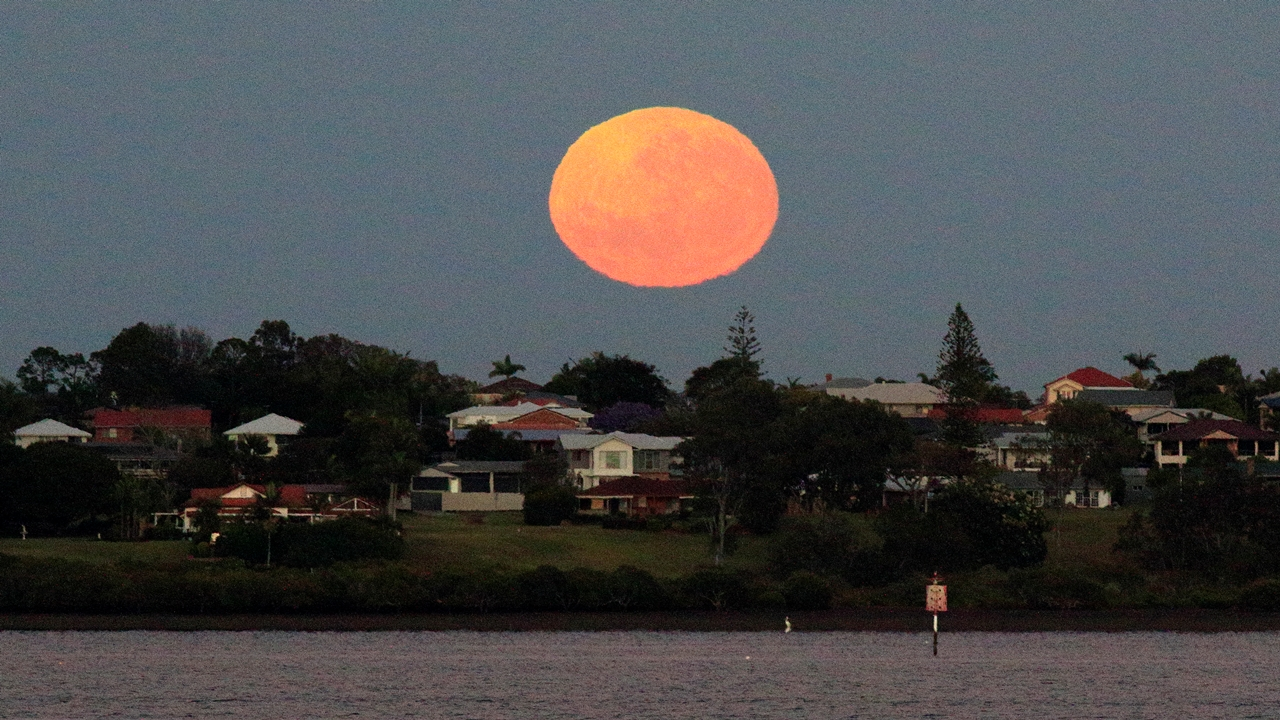 Moon setting over Ormiston - one of the 2016 supermoon events